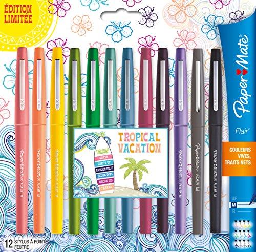 papermate-flair-blister-confezione-di-pennarelli-motivo-tropicale-edizione-limitata-lotto-da-12-pack