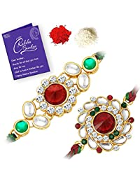 Sukkhi Stylish Rakhi Floral Combo (Set of 2) with Roli Chawal and Raksha Bandhan Greeting Card For Men