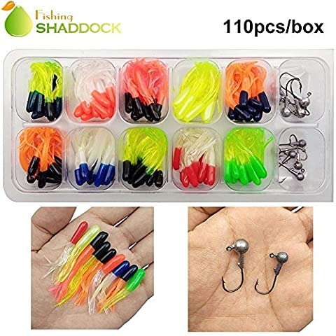Shaddock Fishing ® Soft Minnow Worm Fishing Lures Tackle Kit Soft Crappie Tube Jigs Jig Leader Heads Hooks Fish Bass Fishing Gear Lures Kit Set