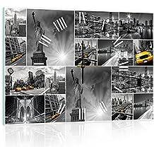 Delester Design cgb10461g3New York Collage reloj de pared de cristal (déco-vitre) cristal, multicolor 60x 40x 4cm)