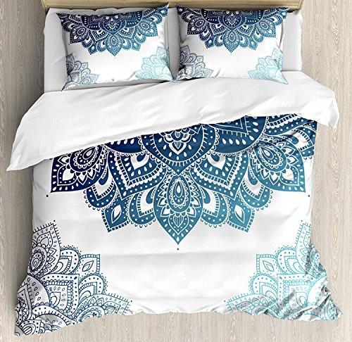 YANAN Henna Bettwäsche-Set für Queen-Size, südasiatisches Mandala-Design mit lebendigen Farben, Ethnische Illustration, dekoratives 3-teiliges Bettwäsche-Set mit 2 Kissenbezügen, dunkelblau hellblau (Dunkelblau Bettwäsche Queen)