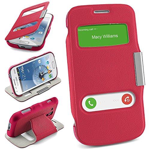 Cover OneFlow per Samsung Galaxy S Duos / S Duos 2 / Trend / Trend Plus Custodia con finestra | Flip Case Astuccio Cover per cellulare apribile | Custodia cellulare Cover rotettiva Accessori Cellulare protezione Paraurti BERRY-FUCHSIA