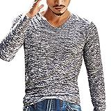 Herren Tops Internet Fashion Casual Solide V-Ausschnitt Langarm-Shirt Top schlanke Bluse (XXL, grau)