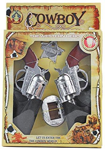 Kostüm Kind Nerd - Nerd Clear Cowboy-Kostüm XXL Set Western Halfter mit 2 Revolvern + Gürtel + Sherif-Stern Cowboy-Gürtel Spielzeug-Pistolen Kinder-Verkleidung