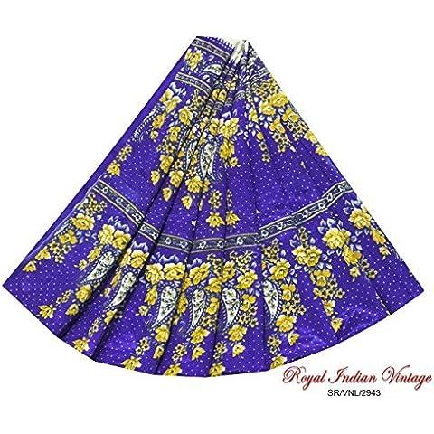 sari 5YD annata utilizzato tenda di seta arte cucire saree drappo decorazione blu casa tessuto indiano paisley mestiere stampato riciclati tessuto artigianale donne sarong arte avvolgono vestito - Arte Seta Tende