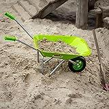 Antikas - Kinderschubkarre in Grün, Gartenschubkarre aus Metall, Schiebkarre