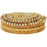 Goelx Fashion Lace with Mounted Shiny Golden Beads - Gold 9 Meter