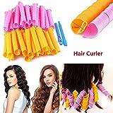 DIY Haar Lockenwickler Werkzeug 55CM Spiral Curls Curlformers Styling Kit mit Haken (Packung von 20, Rosa-orange)