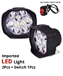 Fabtec Waterproof 9 LED Shilan Fog Light Lamp Assembly Set of 2 with on-Off Switch for Car and Motorbikes 12v DC (White)