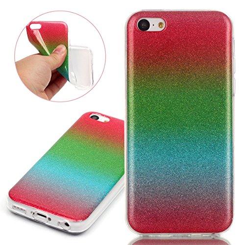 Coque pour iPhone 5C, Etui pour iPhone 5C, ISAKEN Peinture Style Transparente Ultra Mince Souple TPU Silicone Etui Housse de Protection Coque Étui Case Cover pour Apple iPhone 5C (Papillons Fleurs) rouge vert bleu