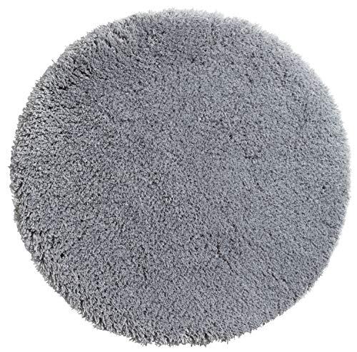 PANA Flauschige Hochflor Badematte Rund in versch. Farben und Größen   Badteppich aus weichen Mikrofasern - rutschfest & waschbar   Duschvorleger Ø 90 cm