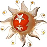 HONGLAND Metallo Sole Luna Decorazione Della Parete Esterna Celeste Arte Scultura Interna Vetro Decorazioni per la Casa Soggi