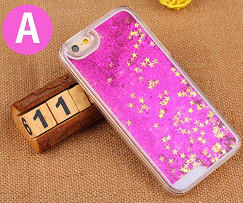 Bling Case Cover Quicksand Glitter stars Hard Back For iPhone 6 Plus blanc