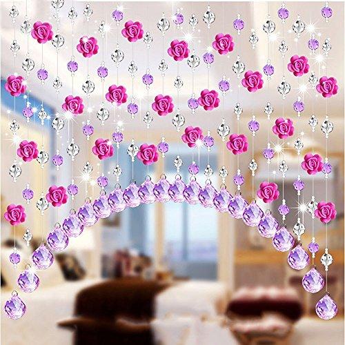 Tianya Rose Rote Weiche Rose Kristall Perlenvorhang Einen Meter Mit Anhänger Kristall Glas Rose Perlen Vorhang Wohnzimmer Schlafzimmer Fenster Tür Hochzeit Dekor