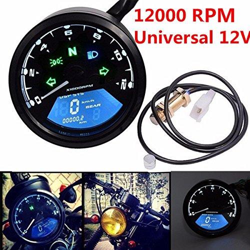 Triclicks Universal 12000RPM LCD Motorrad Digitaltacho Tacho Tachometer Kilometerzähler für die meisten Motorräder, die mit Viertakt-, 2/4-Zylindern ausgestattet sind (Standard als 1 Zylinder der Einstellung)