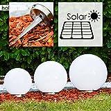 Solar Kugelleuchten Nassau Durchmesser 20, 25 und 30 cm aus weißem Kunststoff - LED Aussenleuchte für Garten, Terrasse, mit Ein- und Ausschalter - Solarlampe mit integriertem Dämmerungsschalter