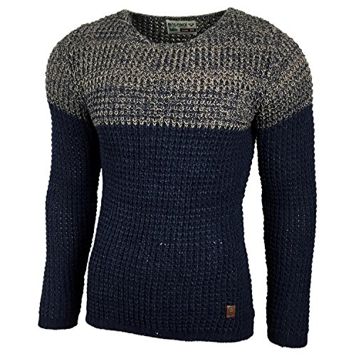 Subliminal Mode ? Pull Over Col Rond Homme Tricot SB-15027 Petite Maille Bleu