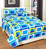 #2: Home Elite Dynamic Rectangular 124 TC Cotton Double Bedsheet with 2 Pillow Covers - Geometric, Blue