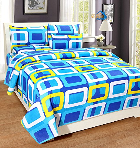 Home Elite Dynamic Rectangular 124 TC Cotton Double Bedsheet with 2 Pillow Covers - Geometric, Blue