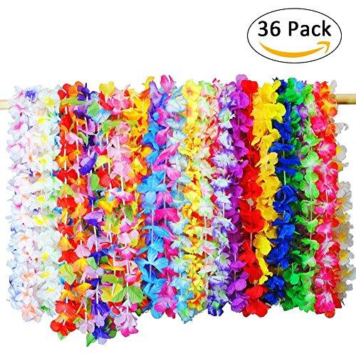 ten Hawaii Deko Blumenketten Hawaiian Leis Halskette Tropischen, Hawaiian Halskette Set Für Luau Sommer Beach Party Dekorationen Gefälligkeiten ()