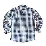 Almsach Herren Trachtenhemd Slim Fit Baumwolle Bügelfrei Langarm mit Krempelärmeln Figurbetontes Hemd zur Lederhose Oder Jeans Kariert Blau Weiß Gr.: M (39/40)