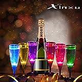 XinXu LED Bicchieri di Vino Wine Champagne Flute Glasses Accende Occhiali LED Liquido Attivato 150ML Set di 6 Colori