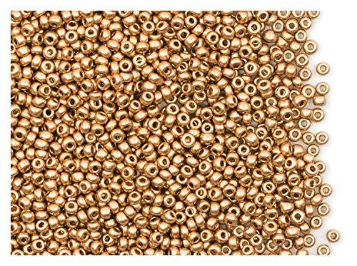 20 Gramm (ca. 2600 Stück) Tschechische Glas Rocailles, Größe 11/0 (2,0mm-2,2mm), Rundloch, Farbe: Aztec Gold (Pale Gold Matte) -