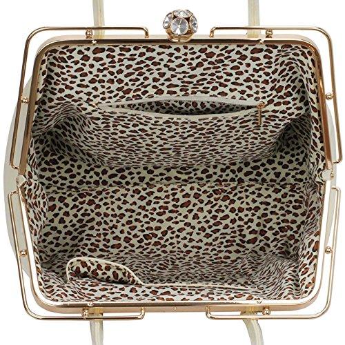 LeahWard® Damen Mittel / Große Größe Patent Schultertaschen Damen Berühmtheit Stil Tragetasche Handtaschen 241 Übermaß Taschen-Weiß/Cream (42x15x28.5cm)