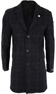 Samuel Windsor Men's Classic 100% Wool Heritage Tweed Long Coats Checked Designs in Light Green and Dark Green