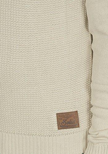 SOLID Turi Herren Strickpullover Schalkragen aus Baumwoll-Mischung Oyster Grey
