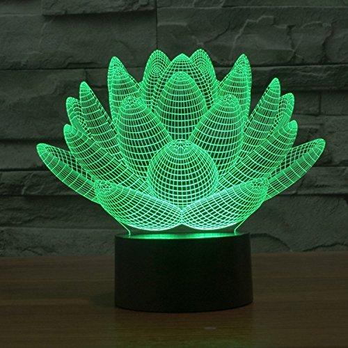 Lampe 3D ILLUSION Lichter der Nacht, kingcoo 7Farben LED Acryl Licht 3D Creative Berührungsschalter Stereo Visual Atmosphäre Schreibtischlampe Tisch-, Geschenk für Weihnachten, Kunststoff, Lotus 0.50 wattsW - 3