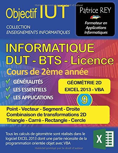 IUT Informatique DUT BTS Licence : Tome 9, Géométrie 2D, Point, Vecteur, Segment, Droite, Transformations 2D, Triangle, Carré, Rectangle, Cercle