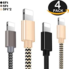OTISA 4er Pack(3*1.5M+2M)Nylon iPhone Datenkabel mit Lightning Stecker Ladekabel für Apple iPhone 7/7 Plus/6 Plus/6 /5/5S/6s iPad 4 iPad Mini/Air(SCHWARZ+GRAU+GOLD)