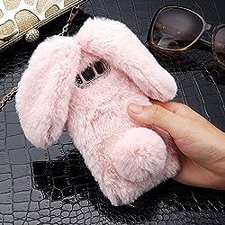 für Samsung Galaxy J5 2017 Version Hülle, LAPOPNUT Kaninchen Hülle Hasenohren Serie Handyhülle Kuschelhasen OSTERHASE Bunny Design Case Weiche Silikonhülle niedlich Schutzhülle mit Kristalldiamanten in Rosa