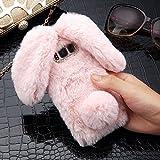 LAPOPNUT für Samsung Galaxy s7 Edge Hülle Kaninchen Hülle Hasenohren Serie Handyhülle Kuschelhasen Bunny Design Case niedlich Schutzhülle mit Kristalldiamanten in Rosa