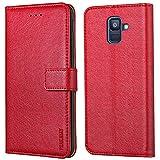 Peakally Samsung Galaxy A6 2018 Hülle, Premium Leder Tasche Flip Wallet Case [Standfunktion] [Kartenfächern] PU-Leder Schutzhülle Brieftasche Handyhülle für Samsung Galaxy A6 2018-Rot