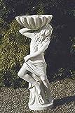 pompidu-living Frau mit Muschelschale, Steinfigur, Gartenfigur Farbe Hellgrau