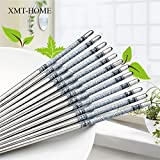 #8: 5 Pairs Printed Thread Stainless Steel Chopstick Chop Sticks