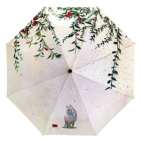 BaoCore Parapluie Pliant Femme Parapluie de Golf Résistant Au Vent Anti-UV Soleil Pluie Anti-Rayonnement Automatique Parapluies de Voyage Pliable Compact 6 baleines 190T tissu Chat