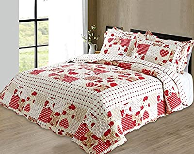Quilted Vintage Shabby Chic Vintage Hearts Pacthwork Bedspread / Comforter Throw Double Bed Multi