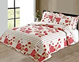One Quilted Shabby Chic Vintage Hearts Patchwork Pillowsham Matches Bedspread / Comforter Throw Multi