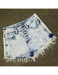 YFF Short en jean taille haute flocon le trou de boucle des célibataires short Flash rugueux,L