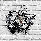 WANGXN Blume Vinyl Wanduhr 40Th Anniversary Kreative Hohle Wand Dekoration Record Uhren,Black,30Cm