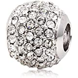Andante-Stones - 925 cuenta de plata Pavé con cristales blancos, elemento bola para cuentas European Beads + saco de organza