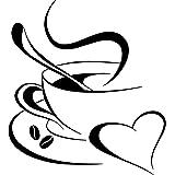 Grandora Muursticker koffiemok hart I zwart (BxH) 10 x 12 cm I koffie kop bonen zelfklevend keuken sticker muursticker W3040