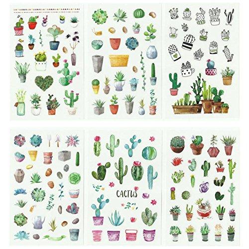 Teabelle Grün Kaktus Aufkleber Pflanze Sticker Bujo Karten Scrapbooking Tagebuch Album DIY Dekoration 6 Stück/Pack -