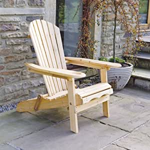 """Adirondack Garden Lounger Chair with Pull Out Leg Rest """"Newby"""" Natural Finish 