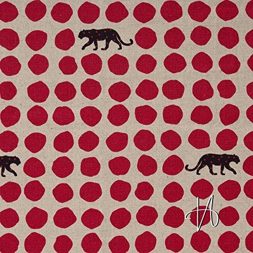 Natur / Schwarz Canvas An (MIRABLAU DESIGN Stoffverkauf Baumwolle Leinen Canvas japanisch Leopard Punkte rot schwarz auf beige natur(4-105M), 0,5m)