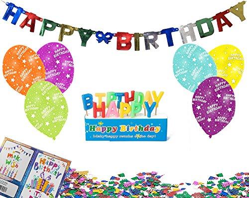 Happy Birthday Geburtstags-Deko-Set (4tlg), Girlande 6x-Ballons Geburtstags-Kerzen Konfetti (50th Birthday Party Dekorationen)