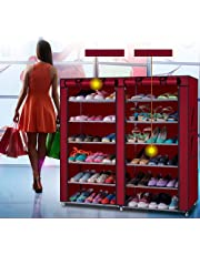 Aysis Multipurpose Portable Folding Shoe Racks for Home Organisers with Waterproof cover-12 Tiers- Maroon